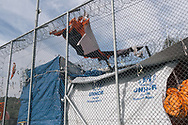 Some of the security fences in the Moria refugee camp, which used to be a military base, on the Greek island of Lesvos.