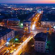 Панорама вечернего Оренбурга в районе проспекта Победы