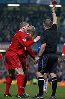EL HADJI DIOUF LIVERPOOL IS SHOWN THE RED CARD BY REFEREE STEVE DUNN<br />