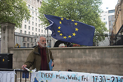May 3, 2017 - London, United Kingdom - The Richmond Terrace vigil is a Pro-EU vigil pictured in London on May 3, 2017. People hold EU flags and placards on the day in which PM Theresa May dissolved the Parliament and opened officially the electoral campaign for the General Election of June. (Credit Image: © Alberto Pezzali/NurPhoto via ZUMA Press)