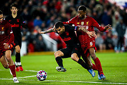 Angel Correa of Atletico Madrid takes on Georginio Wijnaldum of Liverpool - Mandatory by-line: Robbie Stephenson/JMP - 11/03/2020 - FOOTBALL - Anfield - Liverpool, England - Liverpool v Atletico Madrid - UEFA Champions League Round of 16, 2nd Leg