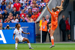07-07-2019 FRA: Final USA - Netherlands, Lyon<br /> FIFA Women's World Cup France final match between United States of America and Netherlands at Parc Olympique Lyonnais. USA won 2-0 / Crystal Dunn #19 of the United States, Desiree van Lunteren #2 of the Netherlands