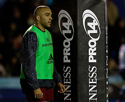 Munster's Simon Zebo<br /> <br /> Photographer Simon King/Replay Images<br /> <br /> Guinness PRO14 Round 15 - Cardiff Blues v Munster - Saturday 17th February 2018 - Cardiff Arms Park - Cardiff<br /> <br /> World Copyright © Replay Images . All rights reserved. info@replayimages.co.uk - http://replayimages.co.uk