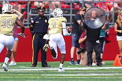 September 1, 2018 - Piscataway, NJ, U.S. - PISCATAWAY, NJ - SEPTEMBER 01:  Texas State Bobcats cornerback Kordell Rodgers (3) intercepts a pass and returns it for a touchdown during the third quarter of the College Football game between Texas State Bobcats and the Rutgers Scarlet Knights on September 1, 2018 at High Point Solutions Stadium in Piscataway, NJ.  (Photo by Rich Graessle/Icon Sportswire) (Credit Image: © Rich Graessle/Icon SMI via ZUMA Press)