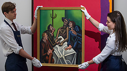 "© Licensed to London News Pictures. 16/11/2018. LONDON, UK. Technicians present ""The Joke"", 1923, by William Roberts (Est. GBP300,000-500,000). Preview of Sotheby's autumn sale of Modern & Post War British art.  Works from the British art scene of the past century will be offered for sale on 20 and 21 November 2018 at Sotheby's in London.  Photo credit: Stephen Chung/LNP"