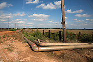 Temporary waterpipes used by the fracking industry in Kingfisher Oklahoma near the site where there was an acid chemcial spill.