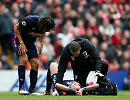 Steve Cook of Bournemouth injured during the Premier League match at Anfield, Liverpool. Picture date: 7th March 2020. Picture credit should read: Darren Staples/Sportimage