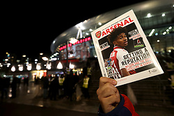 Matchday programmes on sale outside the stadium ahead of the UEFA Europa League, Group H match at the Emirates Stadium, London.