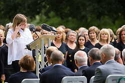 Hyde Park, London, July 7th 2015. Families of the victims and survivors of the 7/7 bombings in London gather at Hyde Park and are joined by the Duke of Cambridge Prince William at an emotional service commemorqating the Islamist terrorist bombing outrage that happened on London's transport network, claiming 57 lives and left scores of people injured. PICTURED: Emma Craig who at 14 survived the bombing gives an emotional account of her experience.