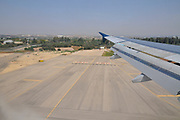 Flying over the Israeli coast in an approach to Ben Gurion Airport, Israel