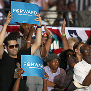 Supporters react as President Barack Obama speaks during his Grassroots event at the Kissimmee Civic Center in Kissimmee, Florida on Saturday, September 8, 2012. (AP Photo/Alex Menendez)