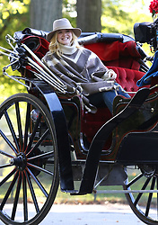 "Elle Fanning is all smiles with Timothee Chalamet as they rode a horse carriage while filming ""Woody Allen's untitled film"" in Manhattan's Central Park. 12 Oct 2017 Pictured: Elle Fanning. Photo credit: LRNYC / MEGA TheMegaAgency.com +1 888 505 6342"