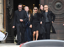 Kate Moss leaving the funeral service for late photographer Peter Lindbergh held at Saint Sulpice church in Paris, France on September 24, 2019. Photo by ABACAPRESS.COM