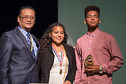 Liyjon DeSilva and Leslie Ortiz are recognized during a Senior awards ceremony at Lee High School, May 25, 2016.