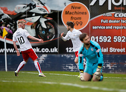 Falkirk's Craig Sibbaldcelebrates after scoring their first goal. <br /> Raith Rovers 2 v 2 Falkirk, Scottish Championship game played 23/4/2016 at Stark's Park.