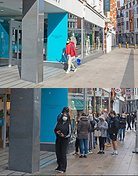 © Licensed to London News Pictures 12/04/2021. Bromley, UK. Comparison images Primark. Yesterday 11.04.2021 a covid restricted empty Bromley High Street around Primark as a cleaner arrives to work and today 12.04.2021 a busy Primark Store in Bromley High Street, South East London this morning as non-essential shops re-open after four months closed because of the Coronavirus outbreak. Photo credit:Grant Falvey/LNP **Use requires payment for two pictures**