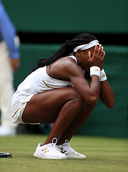 Cori Gauff celebrates victory over Venus Williams on day one of the Wimbledon Championships at the All England Lawn Tennis and Croquet Club, Wimbledon.