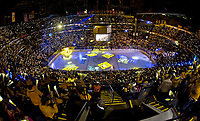 NASHVILLE, TN - APRIL 21:  (Editors Note: Photo taken with fisheye lens) Fans of the Nashville Predators hold up lights prior to Game Four of the Western Conference First Round between the Nashville Predators and the Anaheim Ducks during the 2016 NHL Stanley Cup Playoffs at Bridgestone Arena on April 19, 2016 in Nashville, Tennessee.  (Photo by Frederick Breedon/Getty Images)