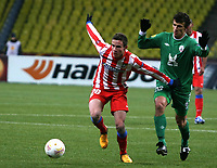 Fotball<br /> Foto: imago/Digitalsport<br /> NORWAY ONLY<br /> <br /> 21.02.201<br /> UEFA EUROPA LEAGUE. 1/16 final. FC RUBIN (KAZAN) vs Club Atletico de Madrid (Spane). 28.Saul Niguez (Atletico de Madrid) and 23. Roman Eremenko(RUBIN Kazan)