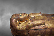 Acient Egyptian sacophagus of Merit -  inner coffin from tomb of Kha, Theban Tomb 8 , mid-18th dynasty (1550 to 1292 BC), Turin Egyptian Museum.  Grey background .<br /> <br /> If you prefer to buy from our ALAMY PHOTO LIBRARY  Collection visit : https://www.alamy.com/portfolio/paul-williams-funkystock/ancient-egyptian-art-artefacts.html  . Type -   Turin   - into the LOWER SEARCH WITHIN GALLERY box. Refine search by adding background colour, subject etc<br /> <br /> Visit our ANCIENT WORLD PHOTO COLLECTIONS for more photos to download or buy as wall art prints https://funkystock.photoshelter.com/gallery-collection/Ancient-World-Art-Antiquities-Historic-Sites-Pictures-Images-of/C00006u26yqSkDOM