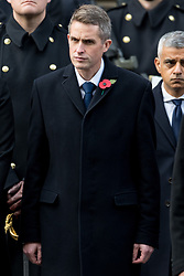 © Licensed to London News Pictures. 12/11/2017. London, UK. British Secretary of State for Defence GAVIN WILLIAMSON<br /> attends a Remembrance Day Ceremony at the Cenotaph war memorial in London, United Kingdom, on November 13, 2016 . Thousands of people honour the war dead by gathering at the iconic memorial to lay wreaths and observe two minutes silence. Photo credit: Ray Tang/LNP