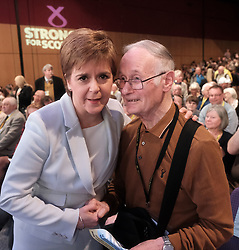 SNP Spring Conference, Saturday 27th April 2019<br /> <br /> Pictured: First Minister Nicola Sturgeon meets long time supporter Allan Angus<br /> <br /> Alex Todd | Edinburgh Elite media