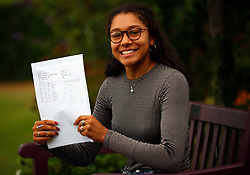 © Licensed to London News Pictures. 17/08/2017. LONDON, UK. <br /> LADY ELEANOR HOLLES STUDENTS RECEIVE A LEVEL RESULTS <br /> Lady Eleanor Holles student Ammaarah Subjally, receives 3 A*s in her A level results today and is going onto Cambridge University to study Chemistry. Lady Eleanor Holles School in Hampton, south-west London achieved 96% of students passing with grades A*-B.<br /> Photo credit: LNP