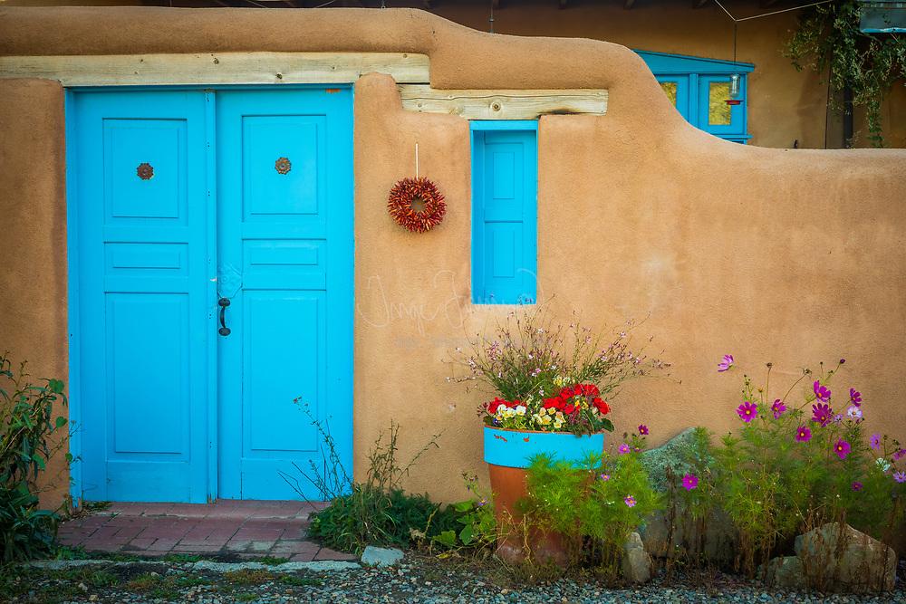 Typical Southwestern adobe home in Rancho de Taos, New Mexico