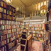 A book lover bed, The Bookshop, Wigtown, Dumfries and Galloway, Scotland.
