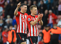 Southampton's James Ward-Prowse (right) and Pierre-Emile Hojbjerg celebrate after the final whistle