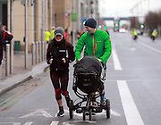NO FEE PICTURES <br /> 1/1/15 Vanessa and Keith Young and their 5 month old daughter Carla, Clonee at the Resolution Day New Years Day fun run at the CHQ building in Dublin. Picture:Arthur Carron