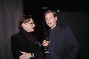 Hamish Bowles and Gawaine Rainey. party given by Daphne Guinness for Christian Louboutin  after the opening of his new shopt.  Baglione Hotel. 16 March 2004.  ONE TIME USE ONLY - DO NOT ARCHIVE  © Copyright Photograph by Dafydd Jones 66 Stockwell Park Rd. London SW9 0DA Tel 020 7733 0108 www.dafjones.com