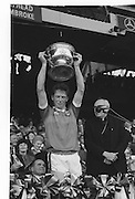 The Kerry captain raises the Sam Maguire Cup after the All Ireland Senior Gaelic Football Championship Final Kerry v Dublin at Croke Park on the 22nd September 1985. Kerry 2-12 Dublin 2-08.