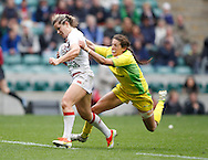 Picture by Andrew Tobin/Tobinators Ltd +44 7710 761829.12/05/2013.Marlie Packer of England (L) is tackled by Alicia Quirk of Australia as they beat Australia 36-7 in the womens final during the Emirates London 7s at Twickenham Stadium, Twickenham.