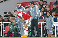 Arsenal midfielder Granit Xhaka (34) and Arsenal Head Coach Unai Emery during the Europa League match between Arsenal and Eintracht Frankfurt at the Emirates Stadium, London, England on 28 November 2019.