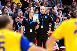 28.10.2018, Raiffeisen Sportpark, Graz, AUT, EHF, Euro Cup, Österreich vs Schweden, im Bild Co Trainer Erwin Gierlinger (AUT), Trainer Patrekur Johannesson (AUT)// during the EHF Euro Cup Match between Austria and Sweden at the Raiffeisen Sportpark, Graz, Austria on 2018/10/28. EXPA Pictures © 2018, PhotoCredit: EXPA/ Sebastian Pucher