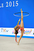 Vladinova Neviana during qualifying at hoop in Pesaro World Cup April 10, 2015. Neviana is a gymnast from Bulgaria. She is born in Pleven February 23, 1994.