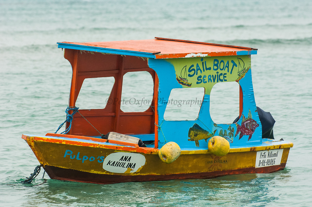Tourist boat for Puerto Villamil Bay tours only.<br /> Puerto Villamil, Isabela Island, GALAPAGOS ISLANDS<br /> ECUADOR.  South America