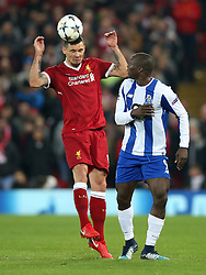 March 6, 2018 - Liverpool, U.S. - 6th March 2018, Anfield, Liverpool, England; UEFA Champions League football, round of 16, 2nd leg, Liverpool versus FC Porto; Dejan Lovren of Liverpool wins a header from Vincent Aboubakar of Porto (Photo by Dave Blunsden/Actionplus/Icon Sportswire) ****NO AGENTS---NORTH AND SOUTH AMERICA SALES ONLY****NO AGENTS---NORTH AND SOUTH AMERICA SALES ONLY* (Credit Image: © Dave Blunsden/Icon SMI via ZUMA Press)