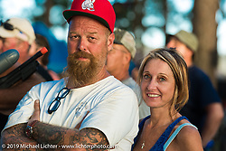 Denise and Bill Dodge near the stage Saturday at the Smokeout. Rockingham, NC. USA. June 20, 2015.  Photography ©2015 Michael Lichter.