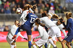 February 27, 2019 - Chester, PA, U.S. - CHESTER, PA - FEBRUARY 27: US Forward Alex Morgan (13) heads the ball through multiple defenders in the second half during the She Believes Cup game between Japan and the United States on February 27, 2019 at Talen Energy Stadium in Chester, PA. (Photo by Kyle Ross/Icon Sportswire) (Credit Image: © Kyle Ross/Icon SMI via ZUMA Press)