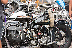 Beautiful Knucklewood at Mondo's Old School Denver's Choppers show at the Iron Horse Saloon during the Annual Sturgis Black Hills Motorcycle Rally. SD, USA. Saturday August 5, 2017.  Photography ©2017 Michael Lichter.