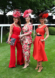 Ilda di Vico (left), Natasha Smile, and Katie Houghton during Ladies Day of the 2019 Invested Derby Festival at Epsom Racecourse, Epsom.