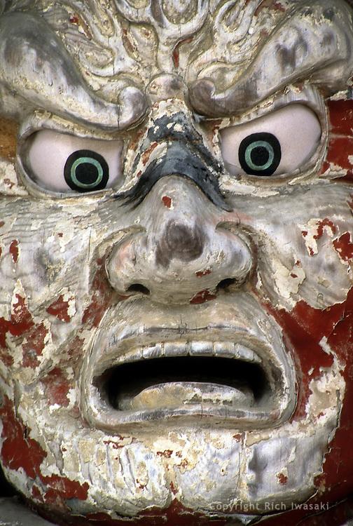 "Closeup view of the guardian statue ""Kongo Rikishi-zo"" at the entrance of Yosenji (temple) in Yuri Honjo city, Akita Prefecture, Japan"
