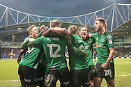 Scunthorpe United players celebrate scoring the equaliser, 1-1 during the EFL Sky Bet League 1 match between Bolton Wanderers and Scunthorpe United at the Macron Stadium, Bolton, England on 31 December 2016. Photo by Mark P Doherty.