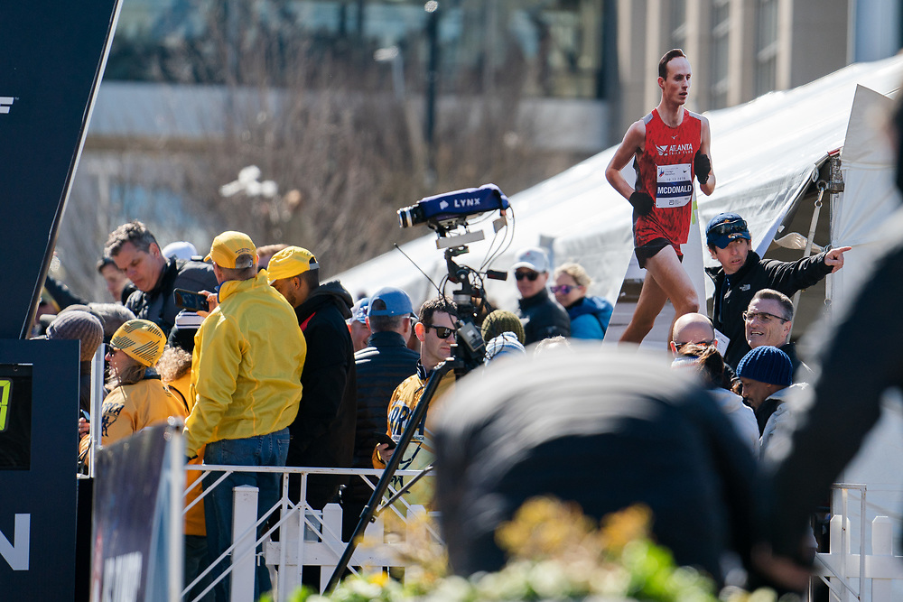 A cardboard cutout of Matthew McDonald during the 2020 U.S. Olympic marathon trials in Atlanta on Saturday, Feb. 20, 2020. Photo by Kevin D. Liles for The New York Times
