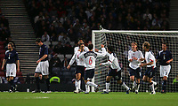 Photo: Andrew Unwin.<br />Scotland v USA. International Challenge. 12/11/2005.<br />The USA celebrate an early goal, scored by Joshua Wolff (#16) from the penalty spot.