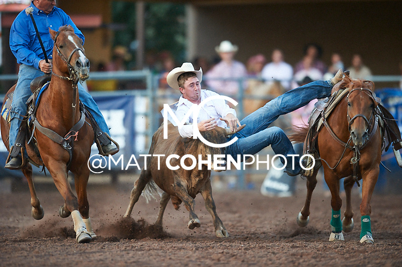 Steer wrestler Jacob Sterkel of Brighton, CO competes at the Pikes Peak or Bust Rodeo in Colorado Springs, CO.<br /> <br /> <br /> UNEDITED LOW-RES PREVIEW<br /> <br /> <br /> File shown may be an unedited low resolution version used as a proof only. All prints are 100% guaranteed for quality. Sizes 8x10+ come with a version for personal social media. I am currently not selling downloads for commercial/brand use.