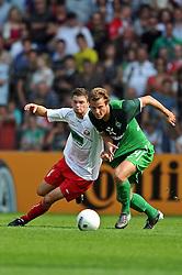 14.08.2010, Wersestadion, Ahlen, GER, Rot Weiss Ahlen vs Werder Bremen , DFB Pokal 1. Runde,  1. FBL 2010, im Bild Janis Kraus ( Ahlen #14 ) - Philipp Bargfrede ( Werder #44 ). Foto ¬© nph / Kurth *** Local Caption *** Fotos sind ohne vorherigen schriftliche Zustimmung ausschliesslich f?ºr redaktionelle Publikationszwecke zu verwenden...Auf Anfrage in hoeherer Qualitaet/Aufloesung+++++ ATTENTION - OUT OF GER +++++ / SPORTIDA PHOTO AGENCY