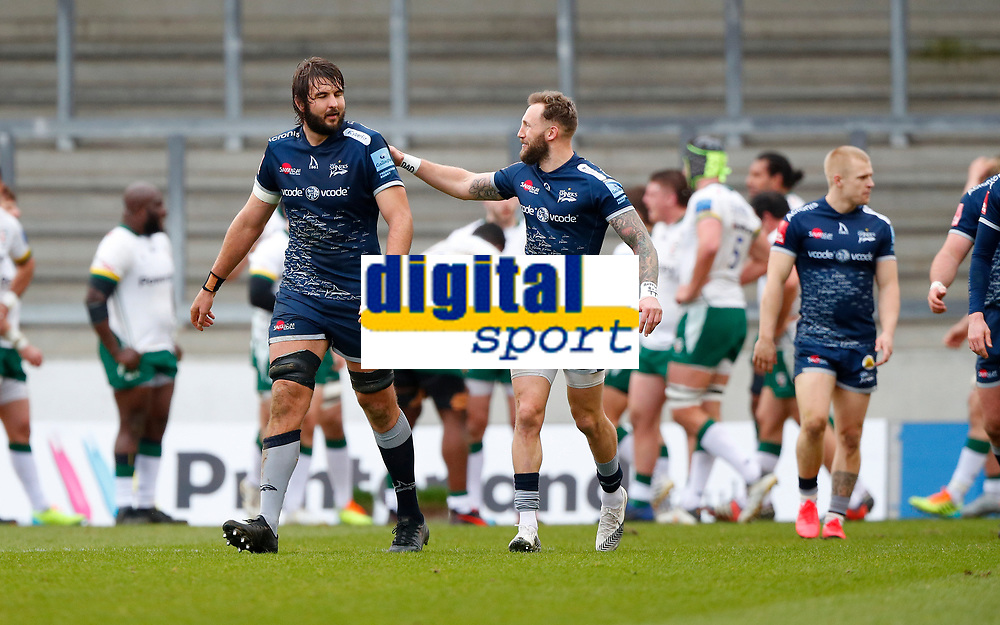 Rugby Union - 2020 / 2021 Gallagher Premiership - Round 4 - Sale Sharks vs London Irish - A J Bell Stadium<br /> <br /> Lood de Jager of Sale Sharks celebrates scoring a try with Byron McGuigan of Sale Sharksat A J Bell Stadium<br /> <br /> Credit COLORSPORT/LYNNE CAMERON